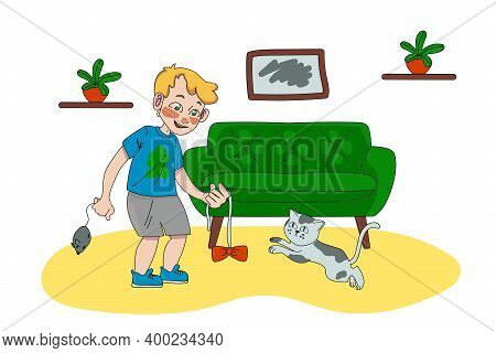 A Boy In The Living Room With A Cat. The Character Is Playing With A Cat In The Living Room. A Beaut