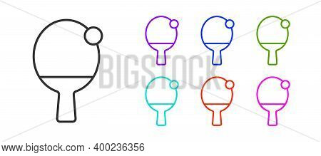 Black Line Racket For Playing Table Tennis Icon Isolated On White Background. Set Icons Colorful. Ve