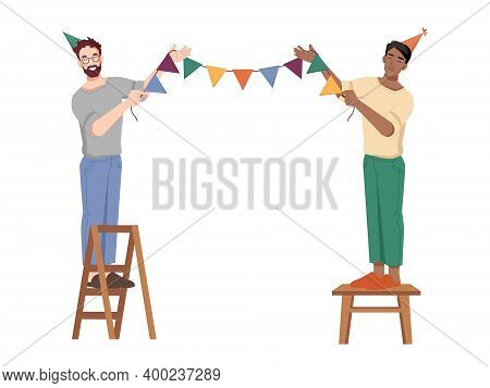 Guys Hang Holiday Flags On Rope, Preparations To Birthday Party, Caucasian And Afro American Guys On