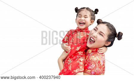 Happy Lovely Asian Family With Cheongsam Chinese Traditional Suite On Isolated Background In Clude P