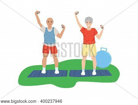 Pensioners Man And Woman Do Sports, Do Exercises, Retirement Activity, Fitness For The Elderly. Vect