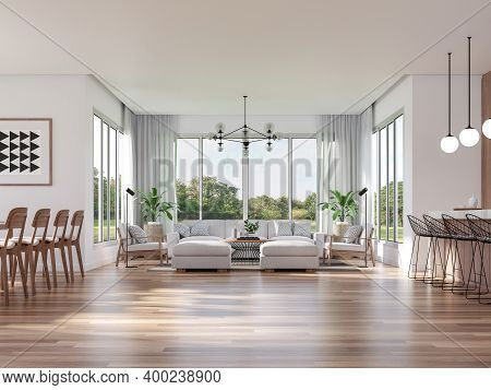 Modern Living, Dining Room And Kitchen With Nature View 3d Render.the Rooms Have Wooden Floors ,deco