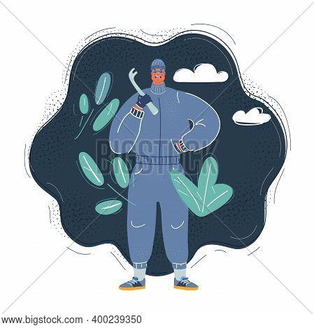 Vector Illustration Of Criminal Man On Dark Backround.