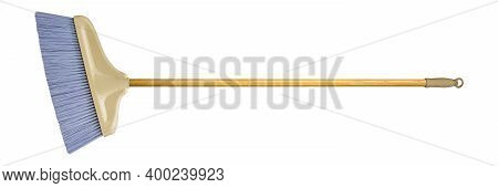 Cleaning Equipment - Broom With Wooden Handle Isolated White Background