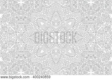 Beautiful Black And White Illustration For Adult Coloring Book With Linear Abstract Eastern Pattern