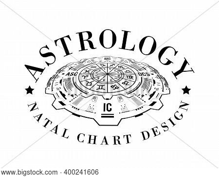 Astrology Vector Background. Example Of The Natal Chart The Planets In The Houses And Aspects Betwee