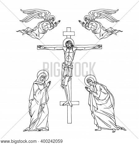 Crucifixion Of Jesus Christ On The Cross, Holy Mary, Apostle John And Angels, Orthodox Icon, Vector