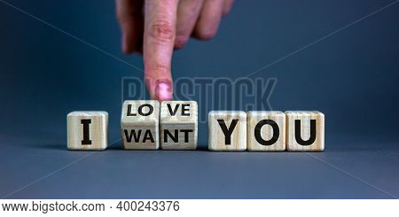 I Love You Symbol. Hand Turns Cubes And Changes Words 'i Want You' To 'i Love You'. Beautiful Grey B