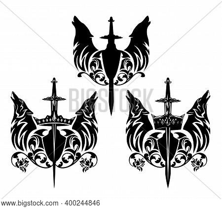 Howling Wolf Heads With Heraldic Shield, King Crown And Rose Floral Decor - Royal Coat Of Arms Black