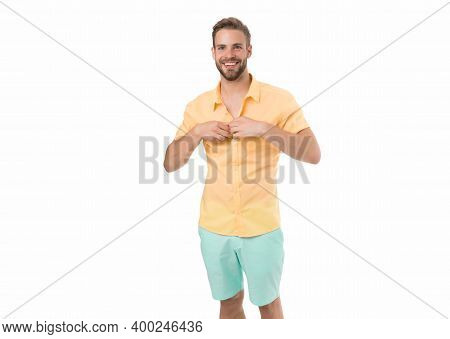Dressing Room. Attractive Man Taking Off Shirt. Confident In His Appealing. Bearded Guy Casual Style