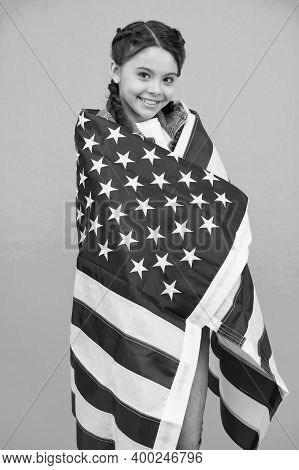Patriotic Concept. Little American Girl. Independence Celebration. Happy Child. Proud Of My Motherla