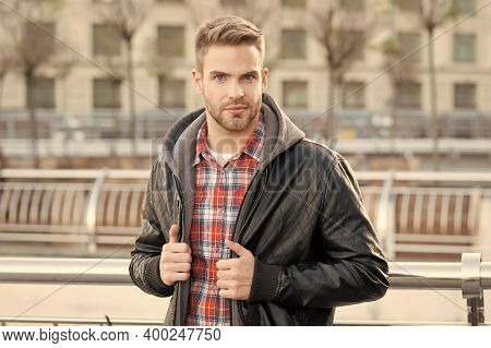 Handsome Look. Handsome Man On Urban Outdoors. Caucasian Guy With Unshaven Handsome Face And Stylish