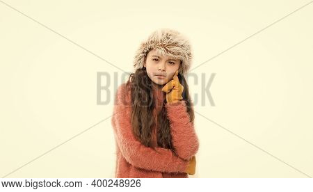 Anti Static Hair Product. Static And Frizz. Adorable Child Long Hair Soft Fur Hat. Child Care Concep