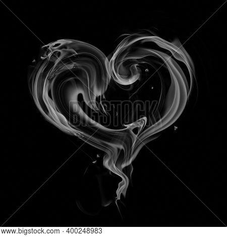 Heart symbol made of steam isolated on black background. 3D illustration.