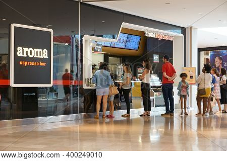 Toronto, Canada - August 26, 2019: People At Aroma Espresso Bar. Aroma Espresso Bar Is An Israeli Es