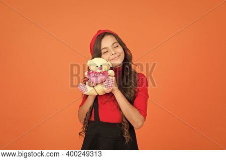 Child Care. Emotional Intellect. Lovely Child. Childhood Concept. Lovely Small Girl Smiling Happy Fa