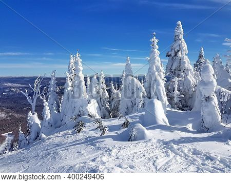 Scenic View Of A Ski Resort Mont-tremblant In Quebec, Canada