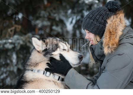 Woman Holding Alaskan Malamute Face With Closed Eyes From Pleasure In Winter