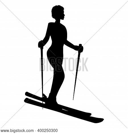 Skier, Woman Silhouette, Side View - Isolated, Black On White Background - Vector. Winter Sport.