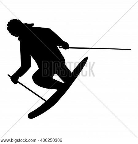Skier Acrobatic Jump - Isolated, Black On White Background - Vector. Winter Sport.