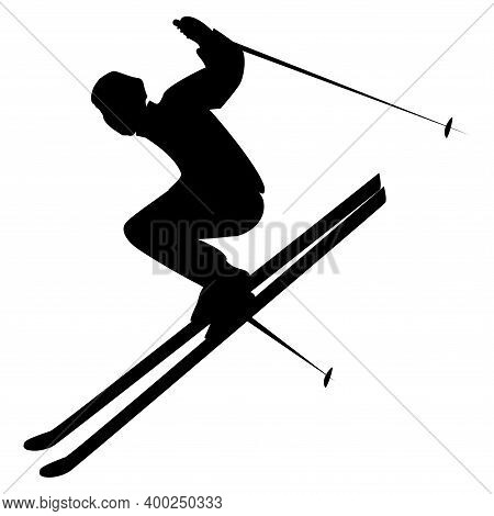 Skier Jumping From A Height, Side View - Isolated, Black On White Background - Vector. Winter Sport.