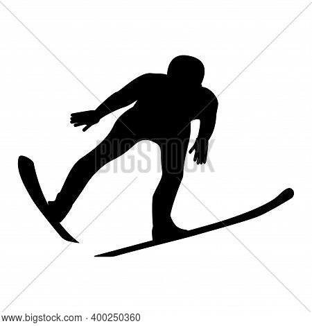 Skier Jumping From A Height, In Front - Isolated, Black On White Background - Vector. Winter Sport.