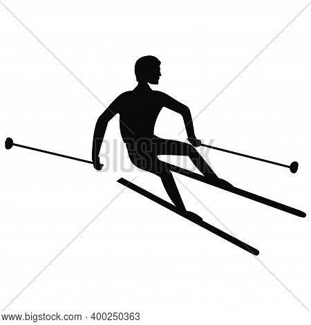 Skier, Silhouette, Descent From A Height, Profile View - Isolated, Black On White Background - Vecto