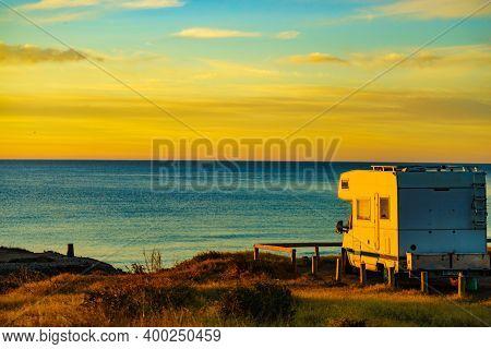 Camper Rv At Sunrise On Mediterranean Coast In Calblanque Park, Murcia Spain. Camping On Nature Beac