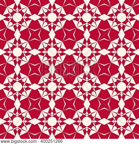 Vector Ornamental Geometric Seamless Pattern. Elegant Geometrical Texture In Red Color. Abstract Bac