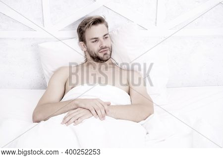 What A Nice Morning. Asleep And Awake. Relaxing In Bedroom. Energy And Tiredness. Sexy Man In Bed. P
