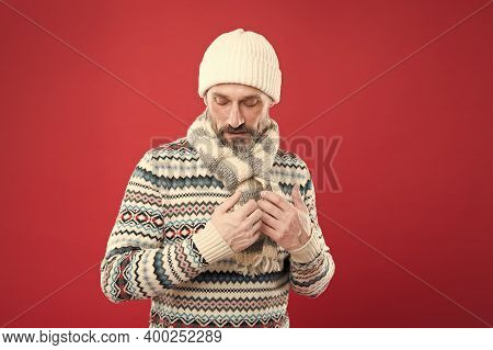 Winter Collection. Warmth And Comfort. Cold Winter Conditions. Handsome Bearded Man Wearing Hat And