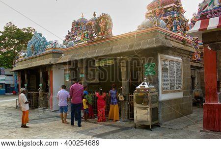 Chennai, South India - October 27, 2018: Hindu Devotee Performing Prayer Ritual Inside A Hindu Templ