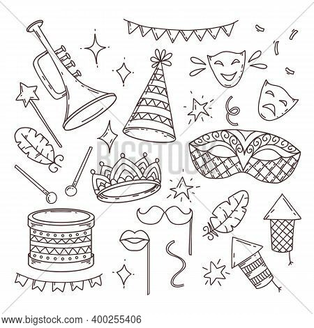 Carnival Symbols In Doodle Style On White Background