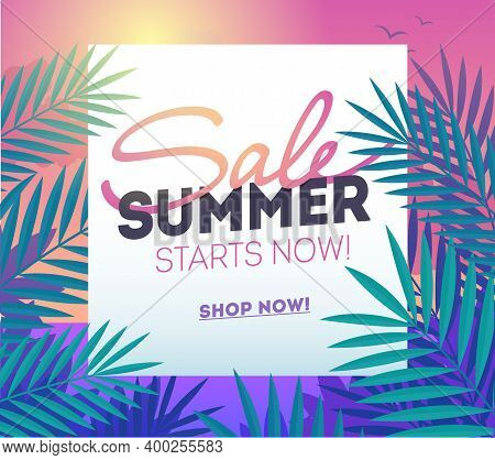 Summer Sale Template Poster, Vector Illustration. Traveling Template Summer Poster, Vector Illustrat