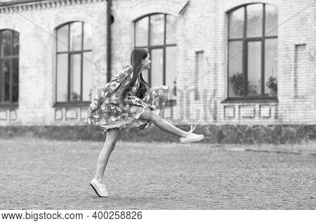 Freedom Is Not Enough. Energetic Kid Marching Outdoors. Summer Fashion Style. Active Lifestyle. Free