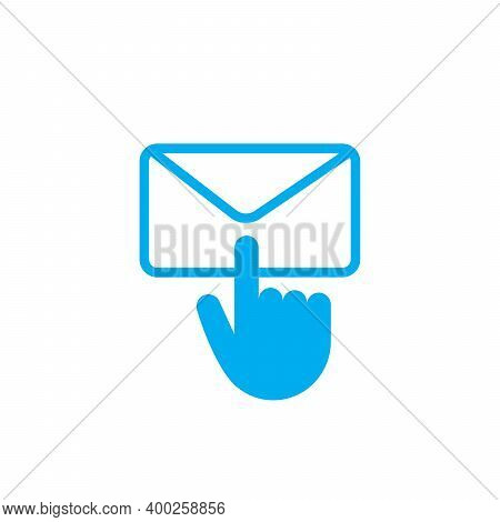 Contact Envelope With Clocking Hand, Send Email, Stock Vector Illustration Isolated On White Backgro