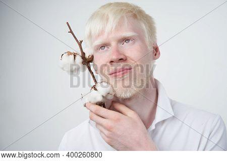 Albinism Happy Smile Albino Man White Skin Hair Soft Fluffy Cotton Brunch Studio Dressed T-shirt Iso