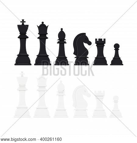 Chess Pieces Vector Icon Set Isolated On White Background. Black And White Chess Figures - King, Que