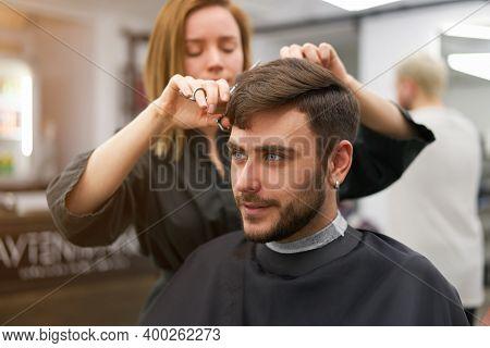 Stylish Man Sitting Barber Shop Hairstylist Hairdresser Woman Cutting His Hair Portrait Handsome Hap