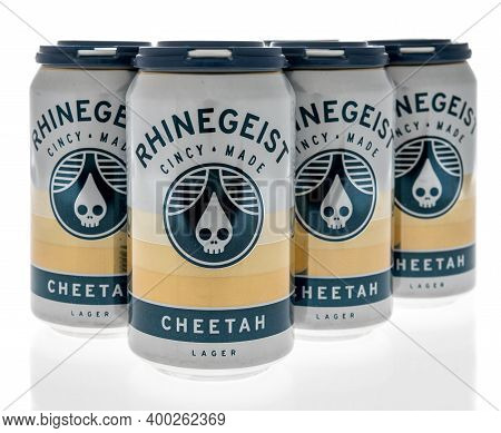 Winneconne, Wi -16 December 2020: A Package Of Rhinegeist Cincy Made Cheetah Beer On An Isolated Bac