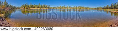 Southwest Panorama View Of White Horse Lake Near Williams Arizona. Located Within The Kaibab Nationa