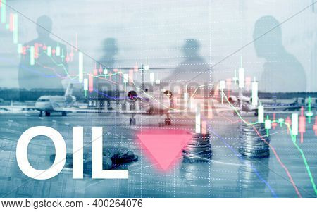 Crude Oil Market Crash Concept. Chart And Down Arrow.