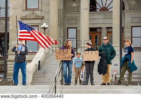 Helena, Montana - Nov 7, 2020: Family Protests At Stop The Steal Rally, Perceive Election Was Stolen