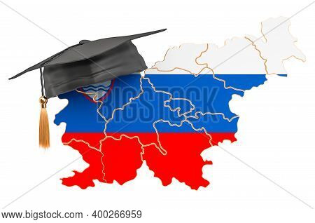 Education In Slovenia Concept. Slovenian Map With Graduate Cap, 3d Rendering Isolated On White Backg