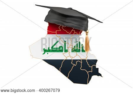 Education In Iraq Concept. Iraqi Map With Graduate Cap, 3d Rendering Isolated On White Background