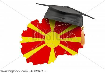 Education In Macedonia Concept. Macedonian Map With Graduate Cap, 3d Rendering Isolated On White Bac