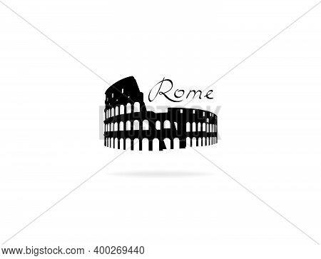 Rome Travel Landark Coliseum. Italian Famous Place Coliseum Silhouette Icon With Handwritten Letteri