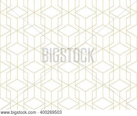 Abstract Geometric Tile Pattern. Seamless Backdrop With Line Ornament In Geometric Style Of 1930S