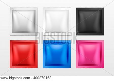Vector 3d Realistic Square Foil Blank Packaging Set Isolated On White. Drugs, Coffee, Salt, Sugar, P