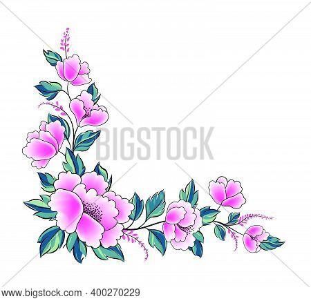 Floral Background. Flower Rose Bouquet  Decorative Garland Border. Flourish Spring Floral Greeting C